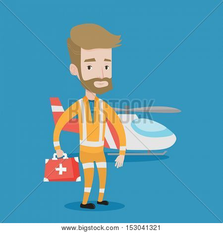 Hipster paramedic standing in front of helicopter. Doctor of air ambulance. Young caucasian paramedic with first aid box. Doctor of air rescue service. Vector flat design illustration. Square layout.
