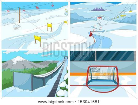 Hand drawn vector cartoon set of sport infrastructure. Cartoon background of ice skating rink. Cartoon background of mountains with ski slopes and ski lifts. Cartoon background of ski springboard.