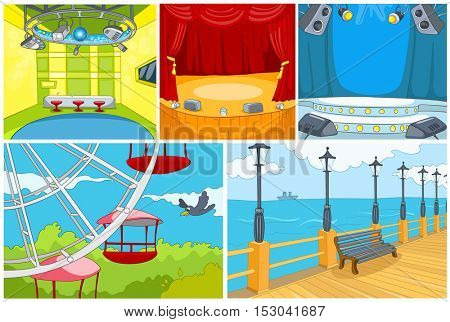 Hand drawn vector cartoon set of backgrounds. Cartoon of theater interior. Colourful cartoon of background of amusement park. Cartoon of embankment. Background of nightclub interior.