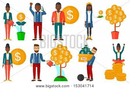 Successful businessman investor. Businessman investing in business project. Illustrations of investment money in business. Investment concept. Set of vector illustrations isolated on white background.