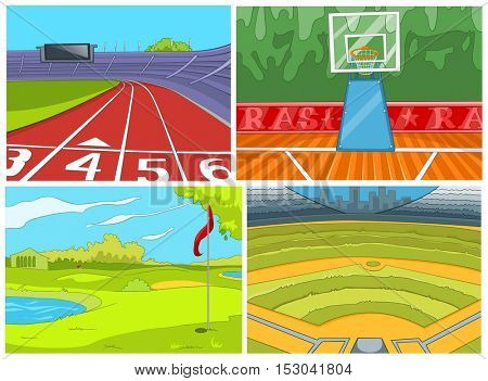 Hand drawn vector cartoon set of sport infrastructure. Colourful cartoons of sport stadiums backgrounds. Cartoon background of golf course. Cartoon of basketball court, baseball field, running tracks.