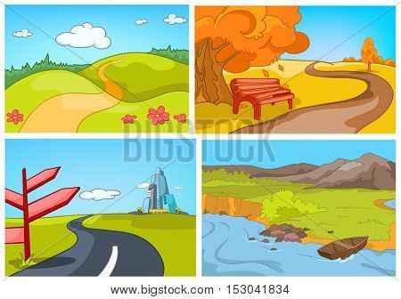 Hand drawn vector cartoon set of summer and autumn landscapes. Colourful cartoons of summer and autumn backgrounds. Background of autumn park. Background of countryside. Background of mountain river.