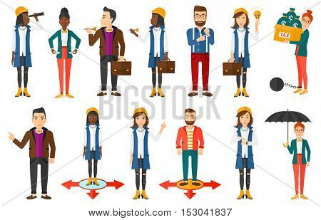 Young business woman having a business idea. Successful business idea concept. Cheerful business woman holding business idea light bulb. Set of vector illustrations isolated on white background.
