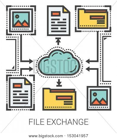 File exchange infographic metaphor with line icons. Project file exchange concept for website and infographics. Vector line art icon isolated on white background.
