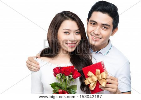 Asian Man Makes Present To His Lovely Sweetheart Young Giving A Gift Cheerful
