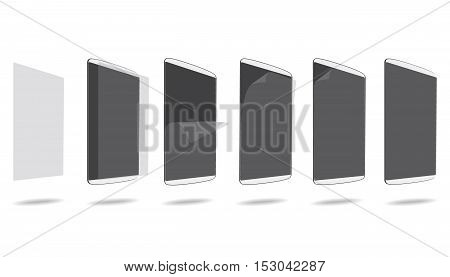 set glue screen protector tablet PC vector illustration