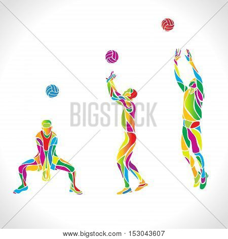 Vector volleyball players set, people silhouettes, summer game activity. Spectrum color silhouettes collection. Eps 10