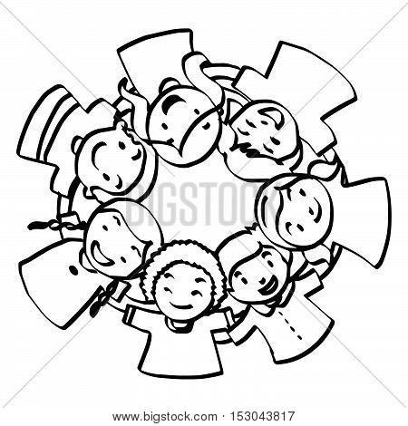 illustration vector hand drawn doodle of seven children huddled together