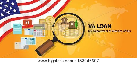 VA Loan mortgage loan in the United States guaranteed by the U.S. Department of Veterans Affairs vector poster