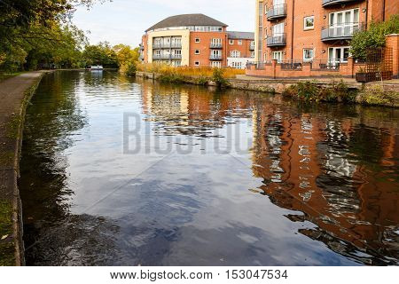 NOTTINGHAM ENGLAND - OCTOBER 19: Apartments by the waterside at Nottingham canal. In Nottingham England. On 19th October 2016.