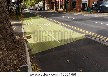 NOTTINGHAM ENGLAND - OCTOBER 19: Cycle path along Castle Boulevard Nottingham England. In Nottingham England. On 19th October 2016.