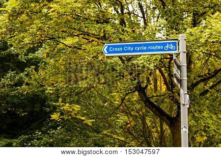 NOTTINGHAM ENGLAND - OCTOBER 19: Nottingham cross city cycle route signage - by the canal. In Nottingham England. On 19th October 2016.