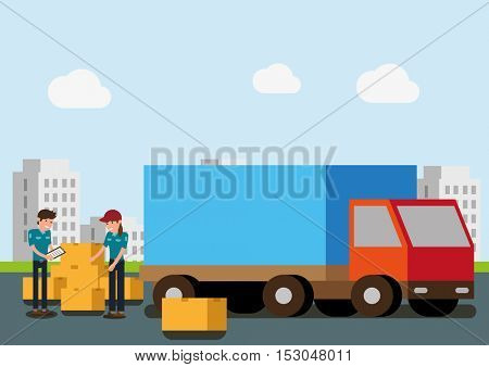 Truck Loading delivery concept. Flat vector illustration.