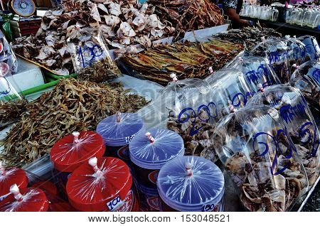 Squid and seafood being sold in the the market.