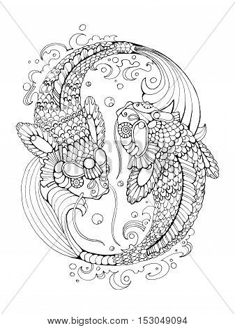 Koi carp fish coloring book for adults vector illustration. Anti-stress coloring for adult. Tattoo stencil. Zentangle style. Black and white lines. Lace pattern