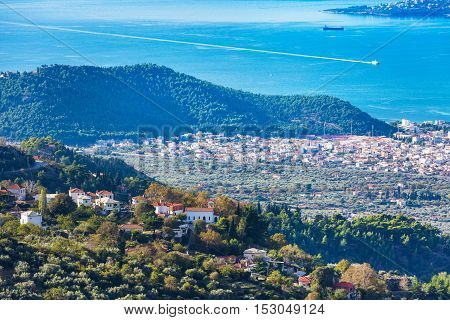 Volos city and mauntain village aerial view from Pelion mount, Greece