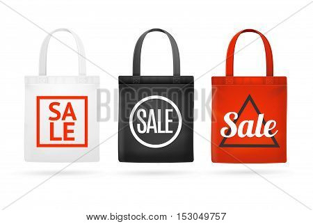 Fashion Sale Fabric Cloth Bag Tote Set with Inscription and Geometric Shapes. Vector illustration