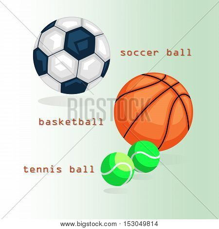 Sport  balls. Football, basketball, tennis. The text and shadows on green background. Stock vector illustration.