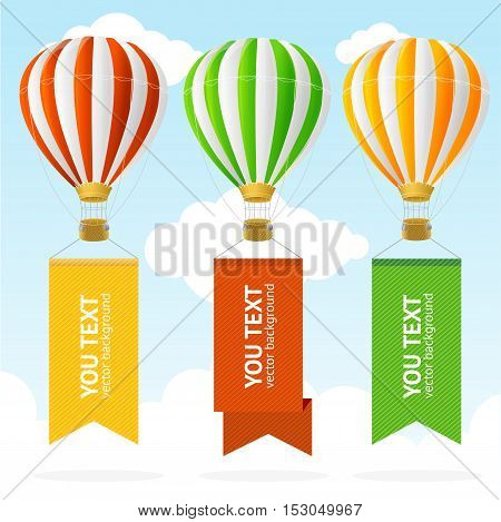 Hot Air Balloon Banner in the Sky with Place For Your Text. Vector illustration
