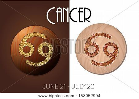 Cancer zodiac sign in circular frame vector Illustration made in the form of filaments. Icons on a wooden background