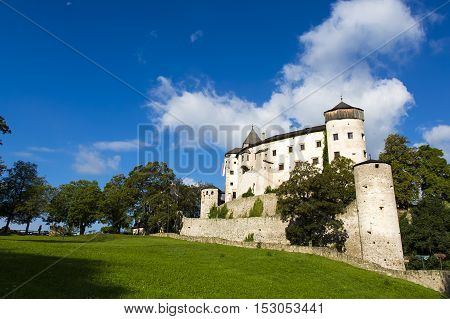 Vols Am Schlern IT- September 22. View of castle of Presule in a sunny day with green grass and blue sky