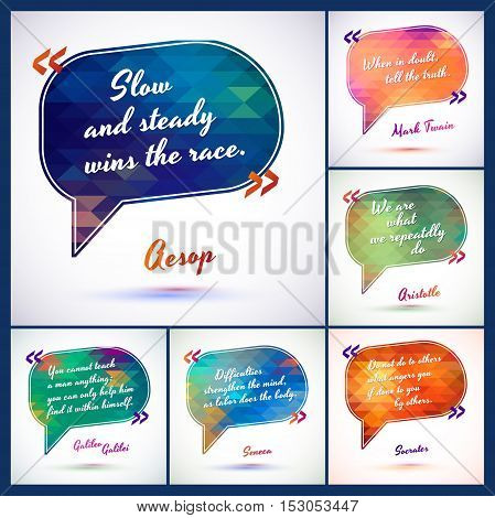 Typographical Background Illustration . Clever ideas from the wise, motivating phrases