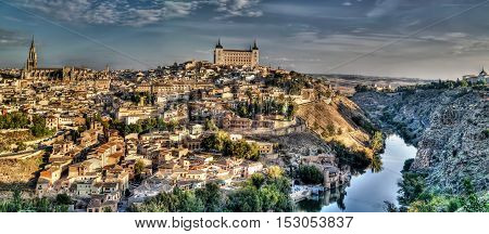 Panorama of the old city of Toledo Tagus river Spain