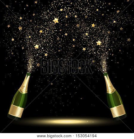 spray bottle of champagne golden confetti on a black background