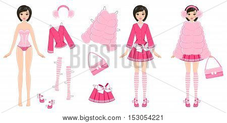 paper doll with clothes in pink on a white background