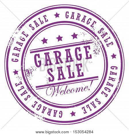 Grunge rubber stamp with small stars and the word Garage Sale inside, vector illustration