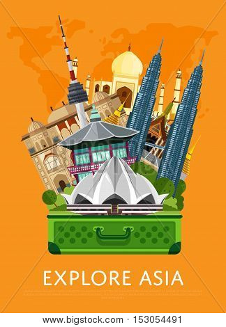 Welcome to Asia travel on the world concept traveling flat vector illustration. Worldwide traveling. Asia landmarks. Famous Asian buildings. Asian architecture in a cartoon style. Asia travel concept. World travel background. Travel asia banners. Travel
