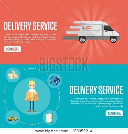 Delivery man and delivery truck vector illustration. Delivery service website templates. Delivery truck icon. Global transportation. Logistic concept. Delivery infographics with flat delivery icons. Delivery service banner. Fast delivery truck sign.