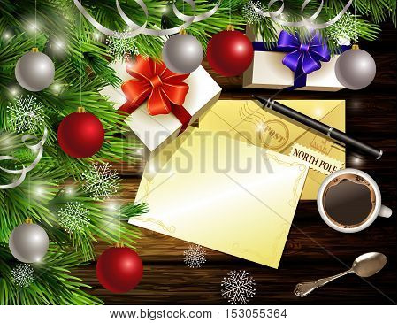 Christmas New Year design light wooden background with christmas tree and silver and red balls and wish list coffee teaspoon gift boxes envelope for santa and pen.
