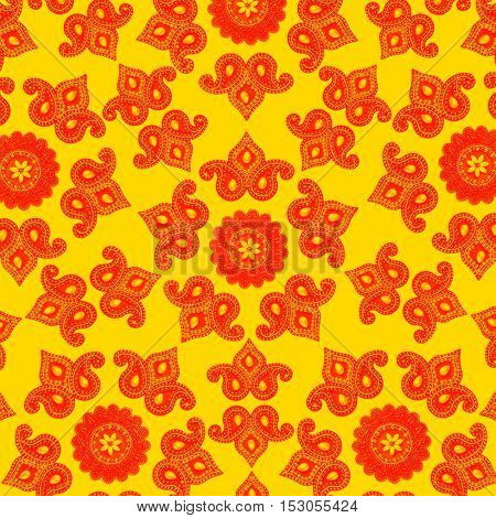 Bright ethnic Indian decorative pattern. Block printing effect.