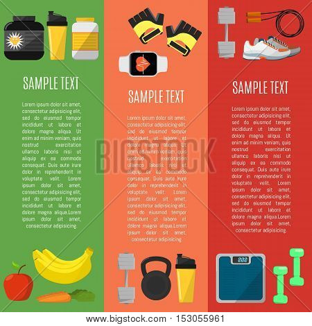Fitness and healthy lifestyle vertical banners, vector illustration set in flat style. Sports equipments and nutrition supplements on color background. Workout and gymnastics. Gym cardio training.
