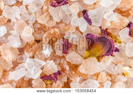 Bath salt and minerals background, close -up