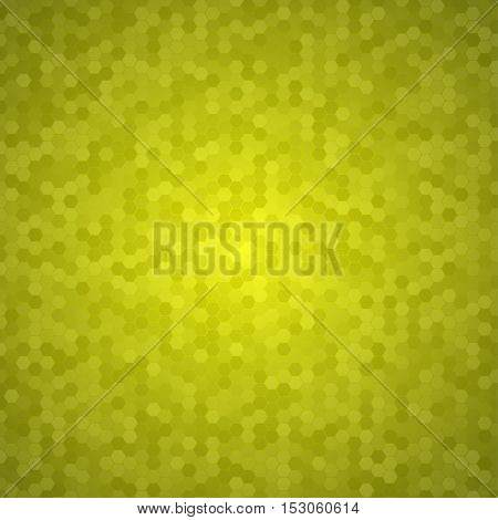 Mosaic Tile Honeycomb Vector Background. Comb Halftone Fone. Yellow Background. Vector illustration for Web Design.