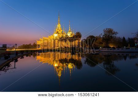 Landmark wat thai sunset in temple at Wat None Kum in Nakhon Ratchasima province Thailand