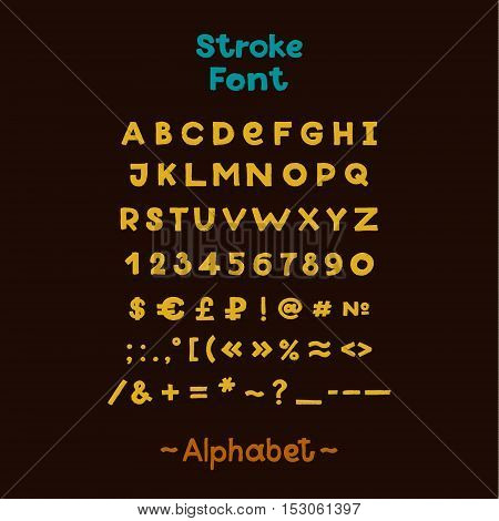 Alphabet. English Sloppy Fat Stroke Font Letters. Capital letters, numbers and special symbols