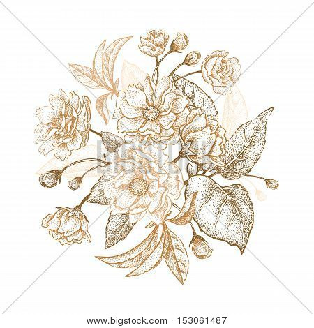 Holiday Luxury card for invitations greetings. Hand drawing Chinese plum. The branches with leaves and flowers on a white background. Embroidery with golden threads. Vintage vector illustration.