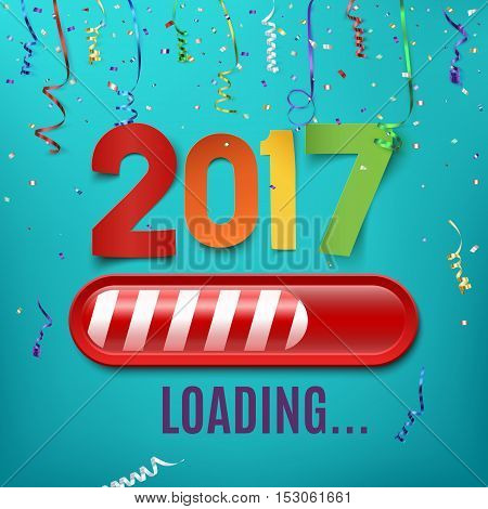 New year 2017 loading bar on celebrating background with ribbons and confetti. Vector illustration.