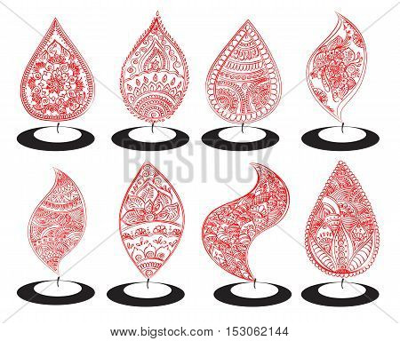 Vector set of abstract oil lit lamp with henna patterns. Illustration for indian festival of lights Happy Diwali celebration. Stock design on white background.