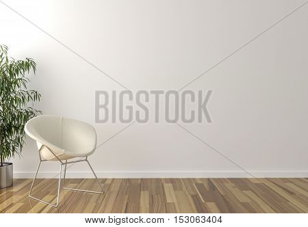 Solo white chair interior plant and blank wall in background - 3d render