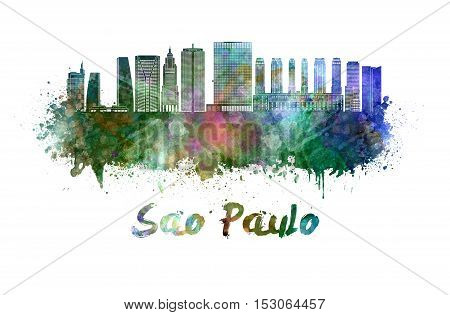 Sao Paulo skyline in watercolor splatters with clipping path