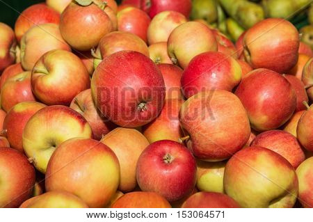 Group of red apples. Apple. Apple background. Red apple. Closeup shot of fresh red and yellow apples.
