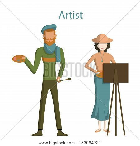 Isolated professional artists on white background. Male and Female artists with paint brush, easel and palette. Creative profession.