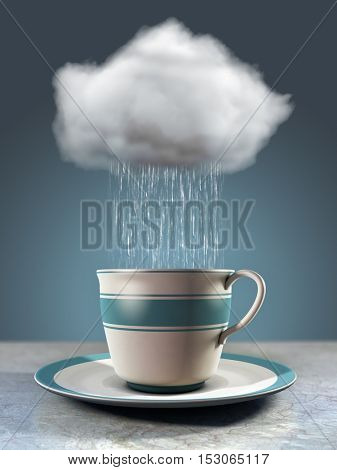 Rain drops fall from a cloud into a porcelain cup. 3D illustration.