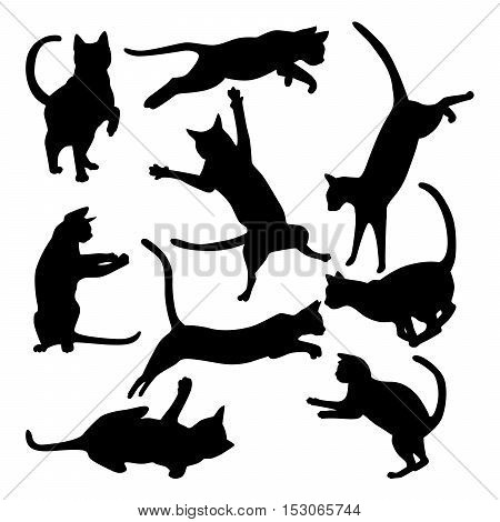 Collection of cats silhouettes in motion on a white background.