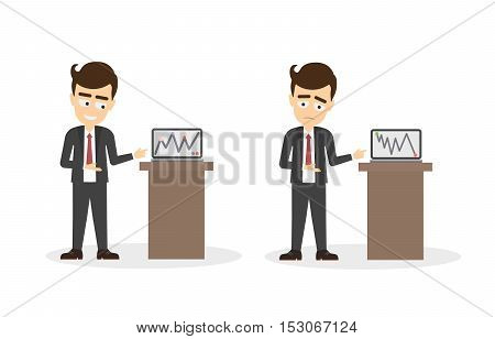 Businessman with chart board set. Businessman with successful and bad business. Isolated cartoon character with chart board and statistics.