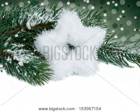 christmas star and three on white background